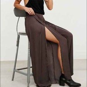 Urban Outfitters BDG | Brown Slit Flowy Boho Pants